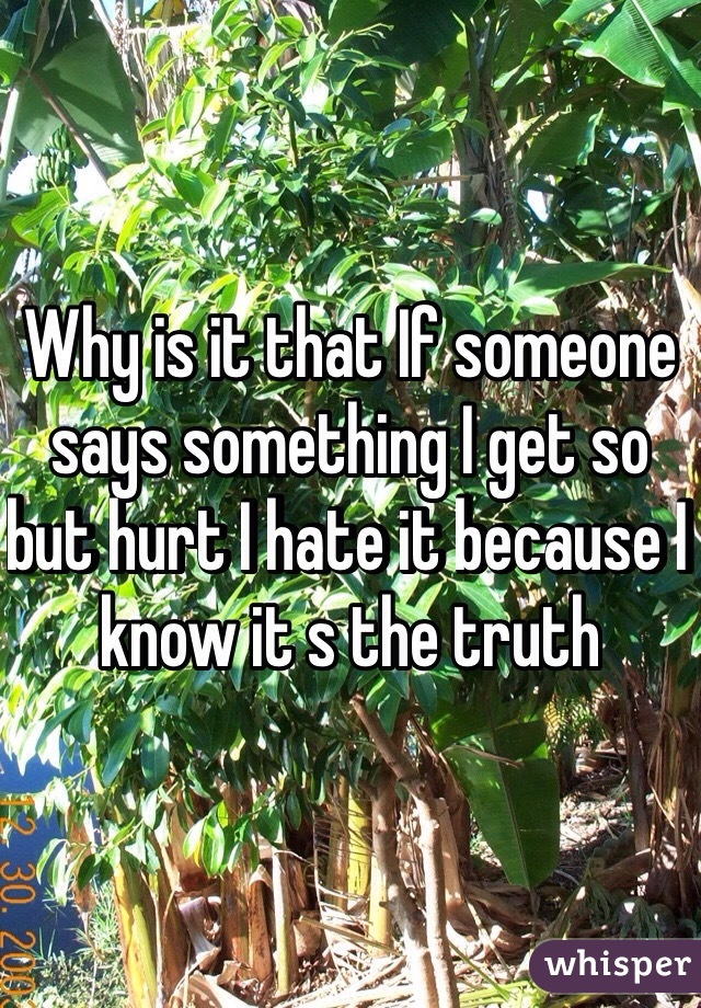 Why is it that If someone says something I get so but hurt I hate it because I know it s the truth