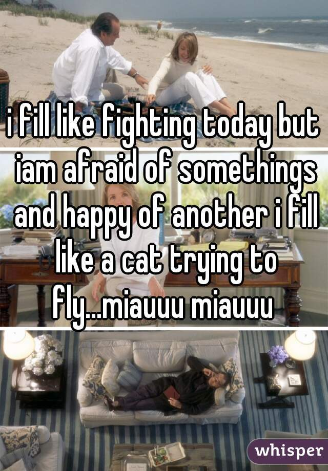 i fill like fighting today but iam afraid of somethings and happy of another i fill like a cat trying to fly...miauuu miauuu