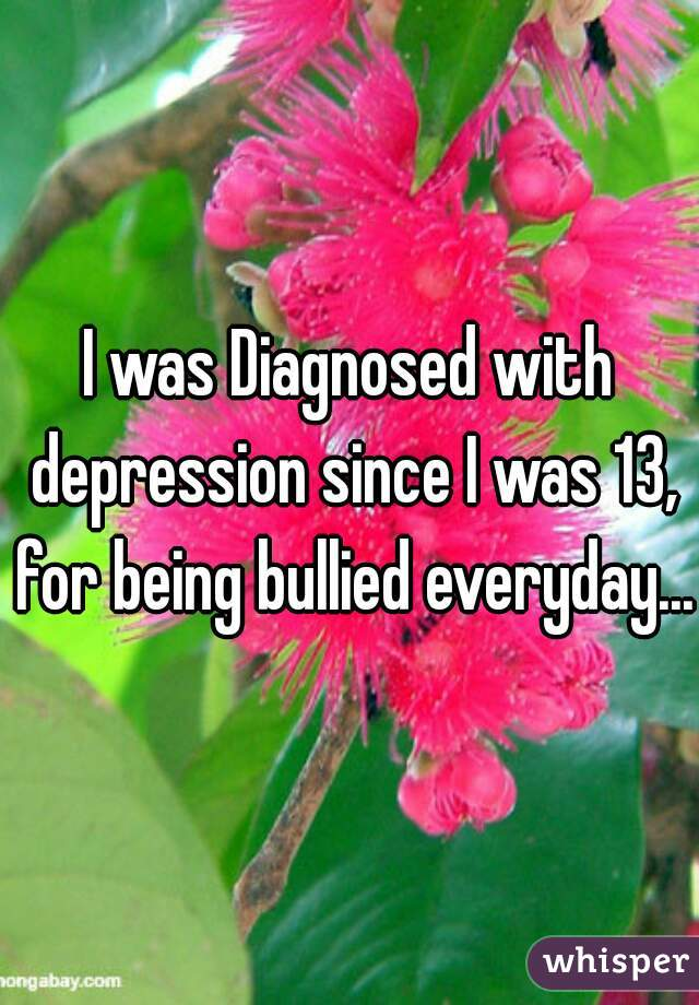 I was Diagnosed with depression since I was 13, for being bullied everyday...