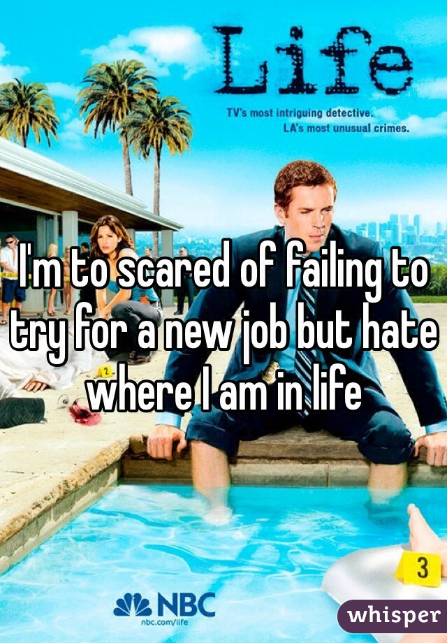 I'm to scared of failing to try for a new job but hate where I am in life