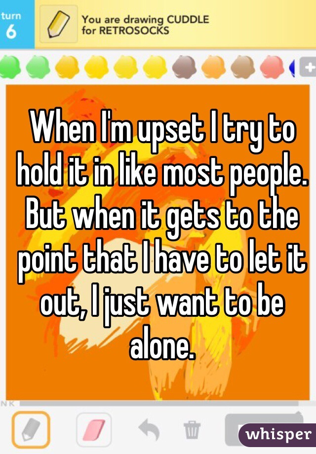 When I'm upset I try to hold it in like most people. But when it gets to the point that I have to let it out, I just want to be alone.