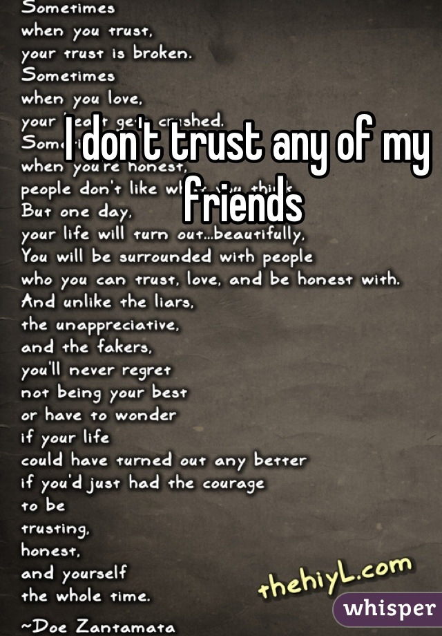 I don't trust any of my friends
