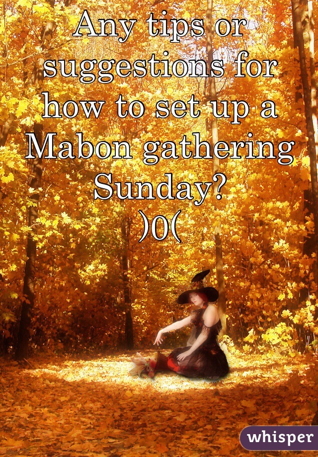 Any tips or suggestions for how to set up a Mabon gathering Sunday?  )0(
