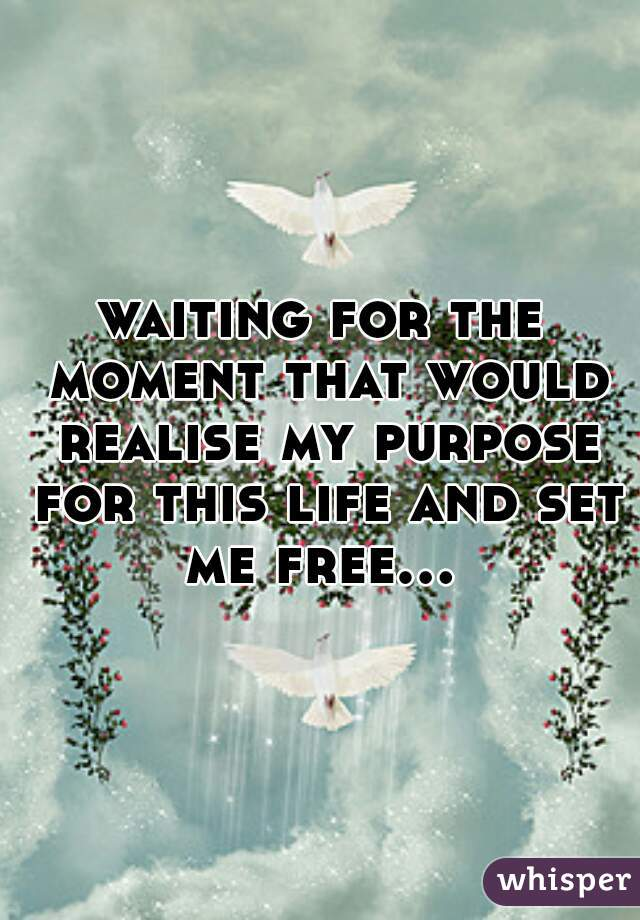 waiting for the moment that would realise my purpose for this life and set me free...