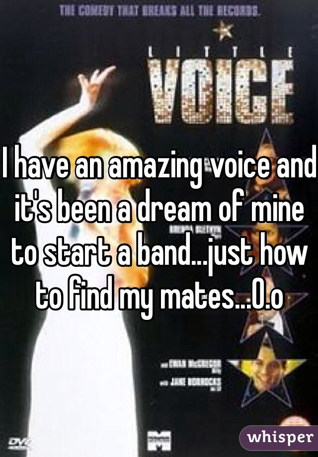 I have an amazing voice and it's been a dream of mine to start a band...just how to find my mates...O.o