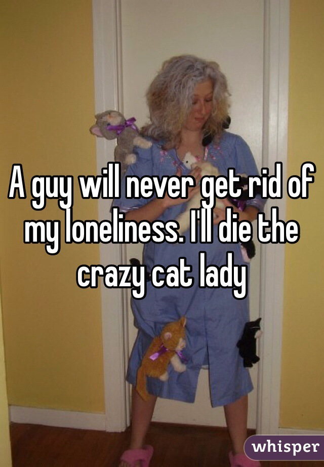A guy will never get rid of my loneliness. I'll die the crazy cat lady