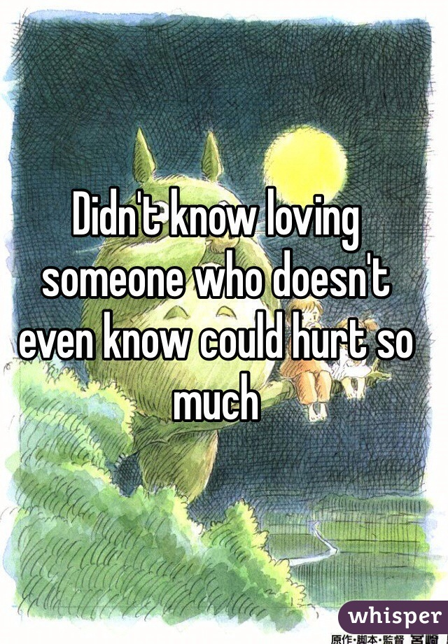 Didn't know loving someone who doesn't even know could hurt so much
