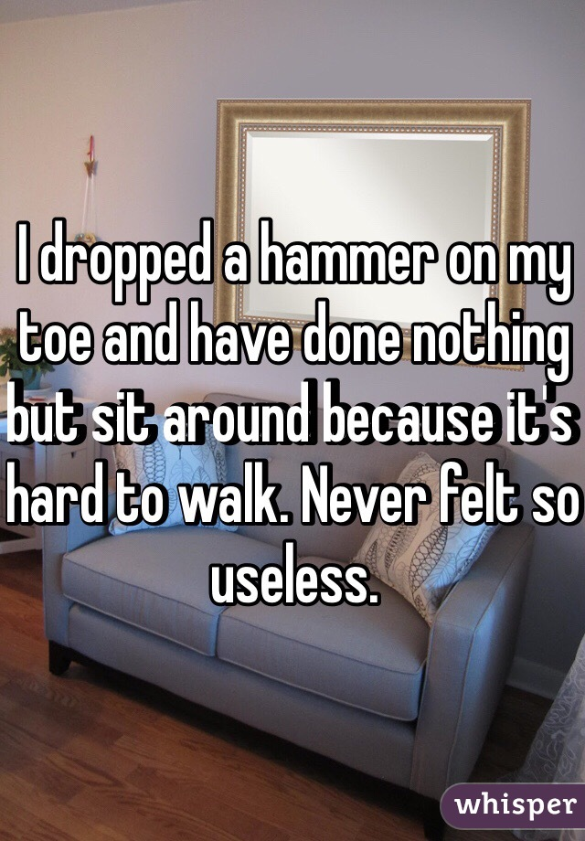 I dropped a hammer on my toe and have done nothing but sit around because it's hard to walk. Never felt so useless.