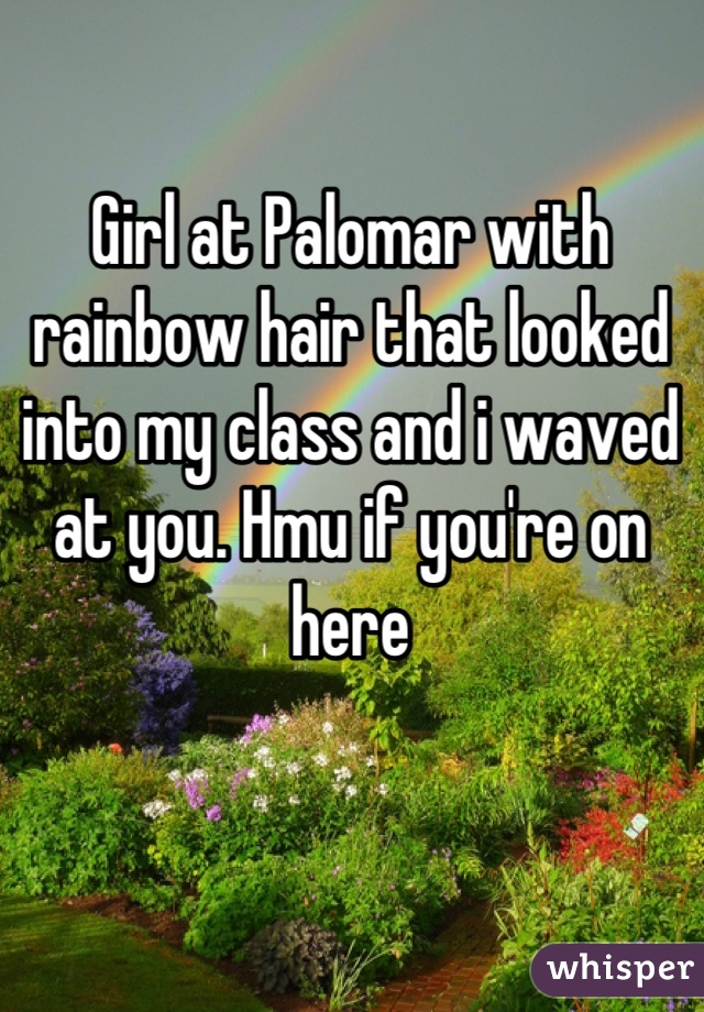 Girl at Palomar with rainbow hair that looked into my class and i waved at you. Hmu if you're on here