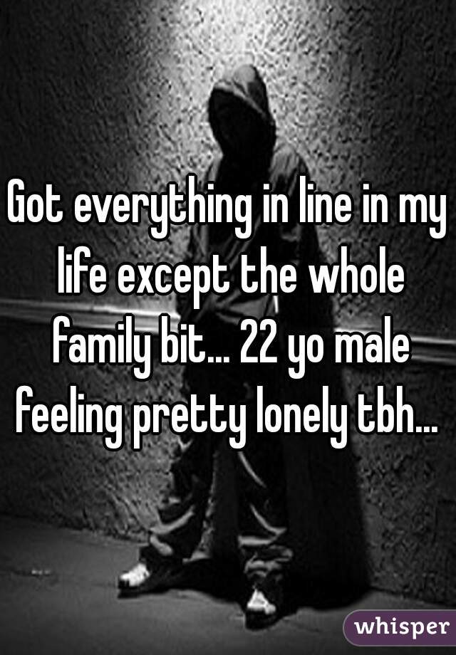 Got everything in line in my life except the whole family bit... 22 yo male feeling pretty lonely tbh...