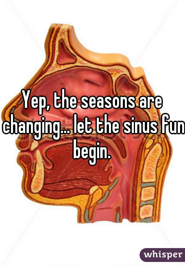 Yep, the seasons are changing... let the sinus fun begin.