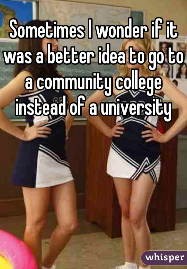 Sometimes I wonder if it was a better idea to go to a community college instead of a university