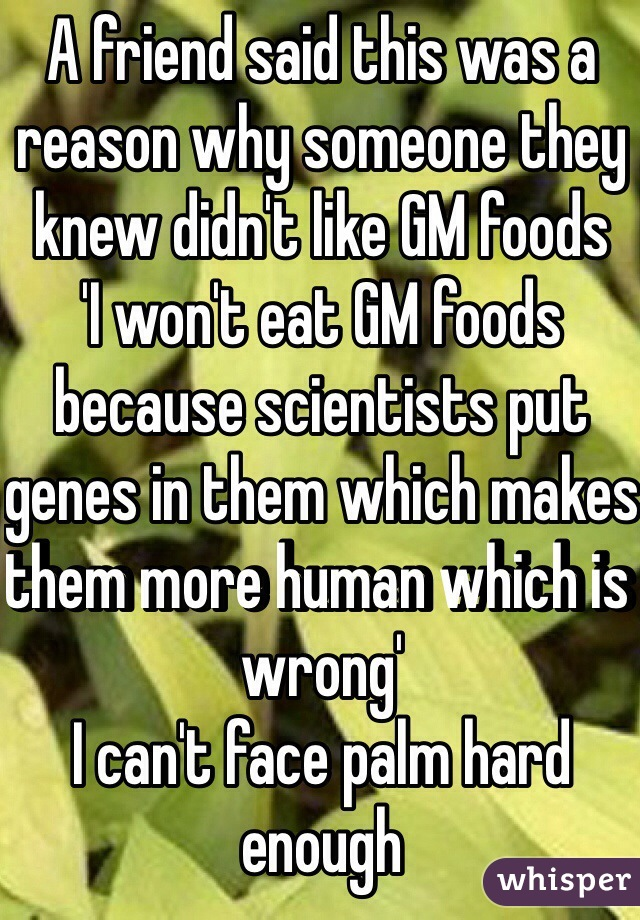A friend said this was a reason why someone they knew didn't like GM foods  'I won't eat GM foods because scientists put genes in them which makes them more human which is wrong'  I can't face palm hard enough