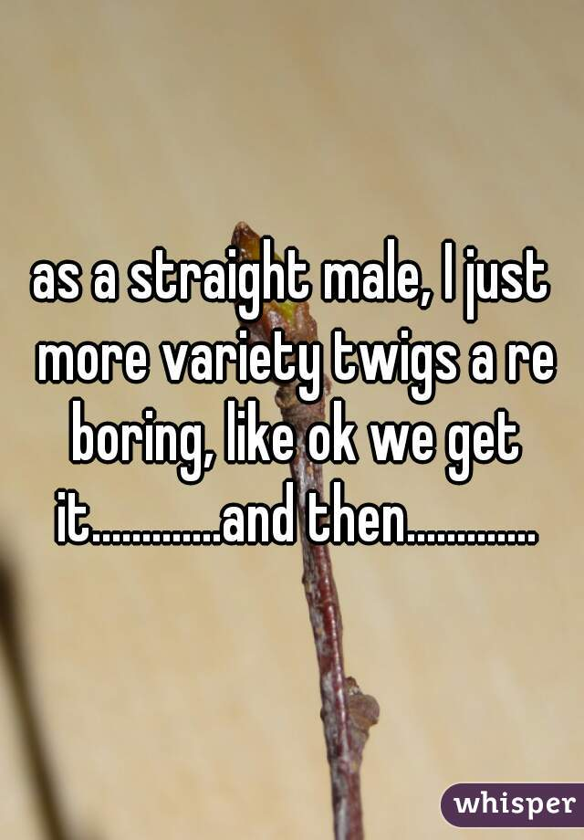 as a straight male, I just more variety twigs a re boring, like ok we get it.............and then.............