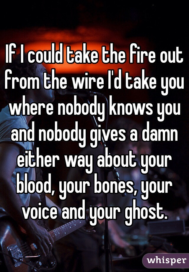If I could take the fire out from the wire I'd take you where nobody knows you and nobody gives a damn either way about your blood, your bones, your voice and your ghost.