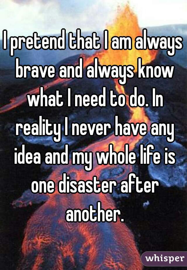 I pretend that I am always brave and always know what I need to do. In reality I never have any idea and my whole life is one disaster after another.