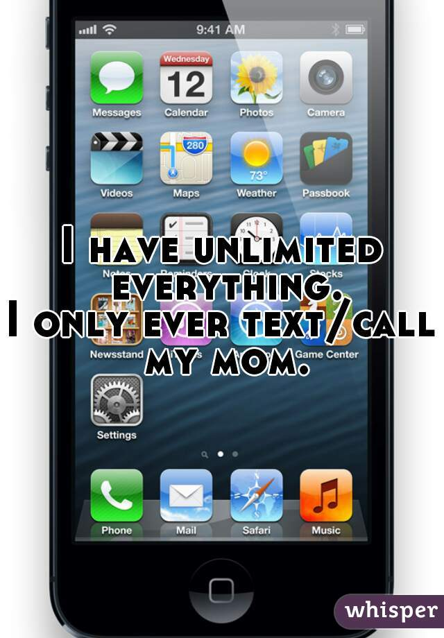 I have unlimited everything. I only ever text/call my mom.
