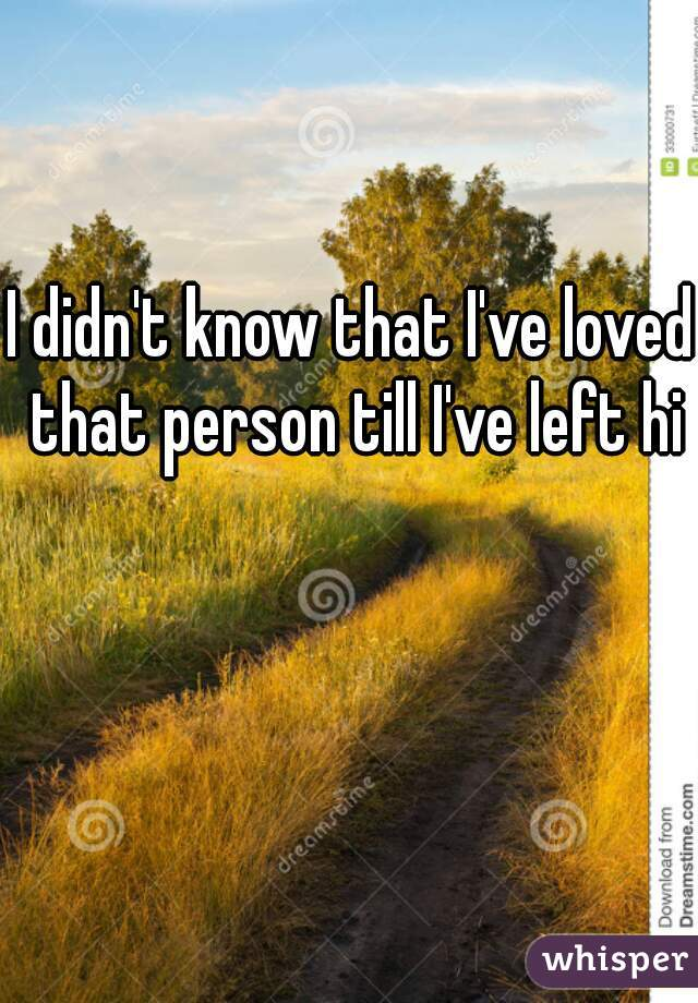 I didn't know that I've loved that person till I've left him