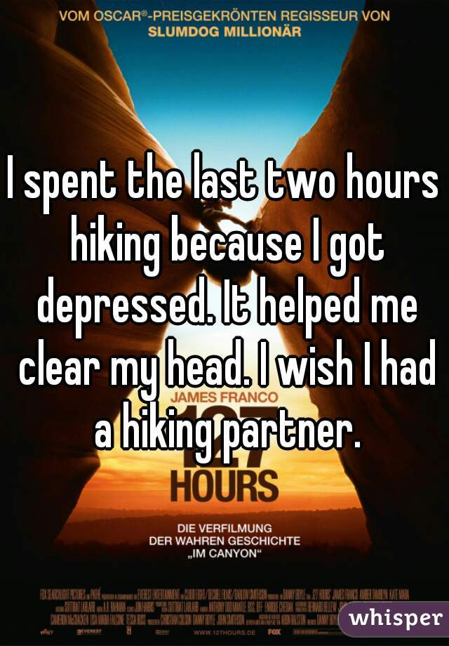 I spent the last two hours hiking because I got depressed. It helped me clear my head. I wish I had a hiking partner.