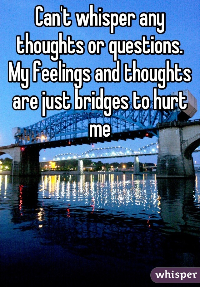 Can't whisper any thoughts or questions.  My feelings and thoughts are just bridges to hurt me