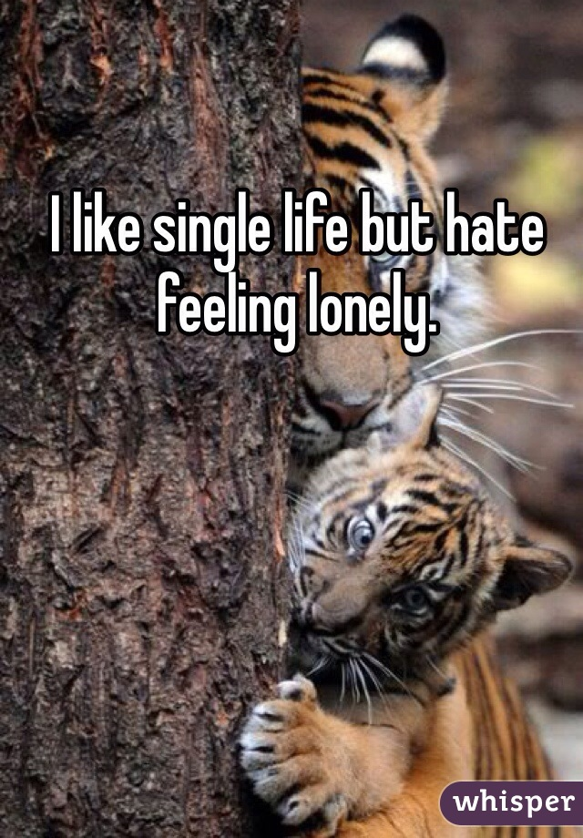 I like single life but hate feeling lonely.