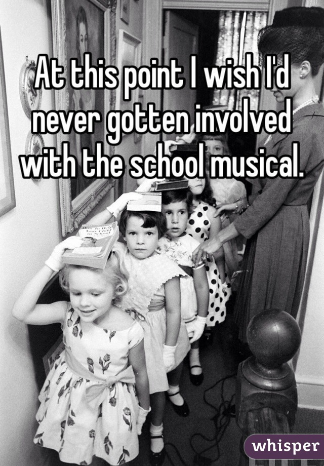 At this point I wish I'd never gotten involved with the school musical.