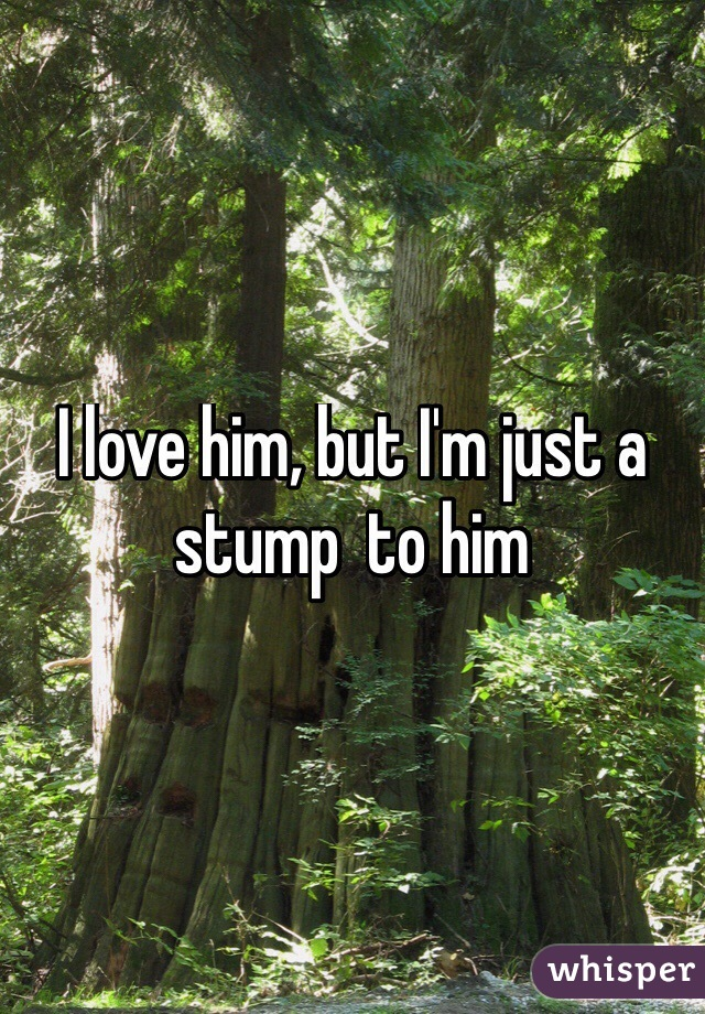 I love him, but I'm just a stump  to him