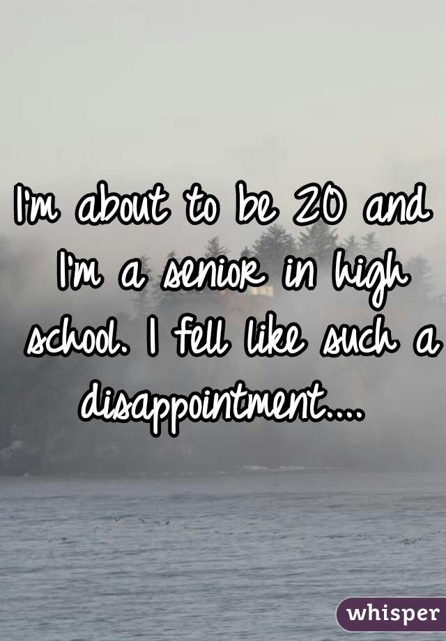 I'm about to be 20 and I'm a senior in high school. I fell like such a disappointment....
