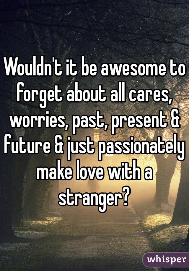 Wouldn't it be awesome to forget about all cares, worries, past, present & future & just passionately make love with a stranger?