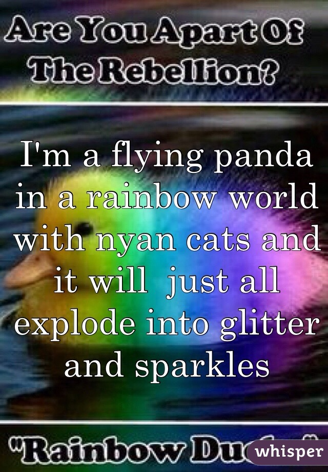 I'm a flying panda in a rainbow world with nyan cats and it will  just all explode into glitter and sparkles