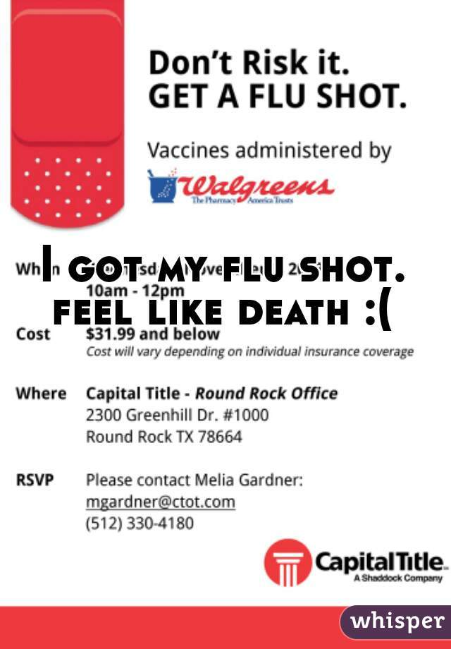 I got my flu shot. feel like death :(