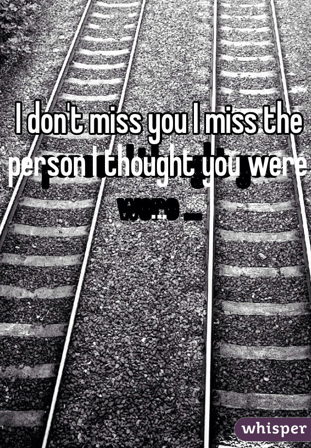 I don't miss you I miss the person I thought you were ...