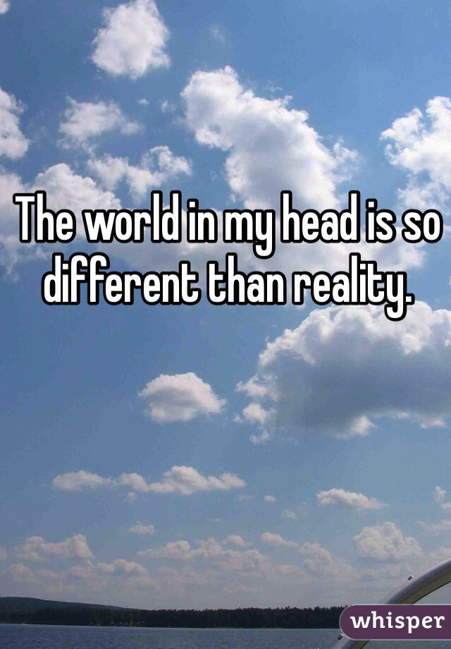 The world in my head is so different than reality.