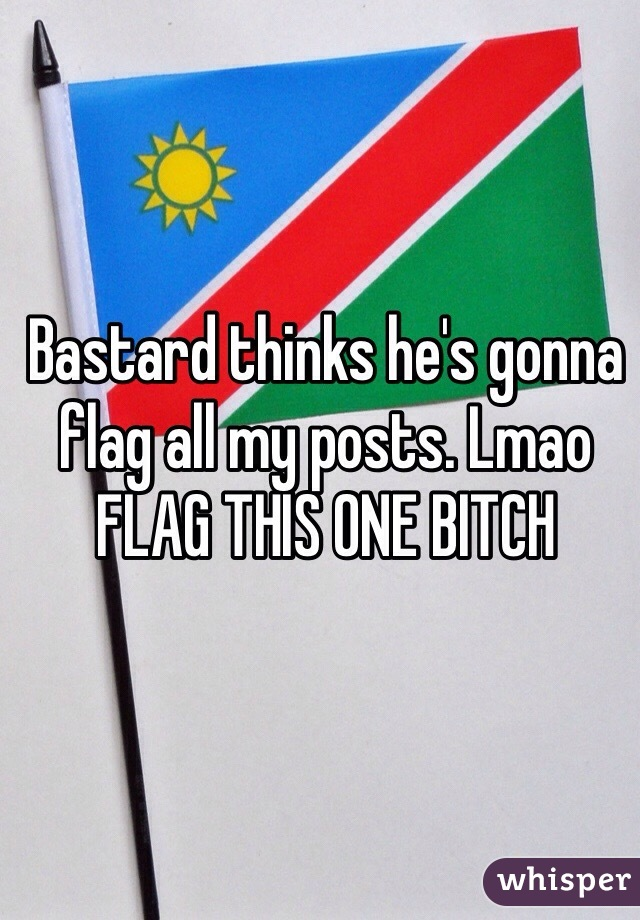 Bastard thinks he's gonna flag all my posts. Lmao FLAG THIS ONE BITCH