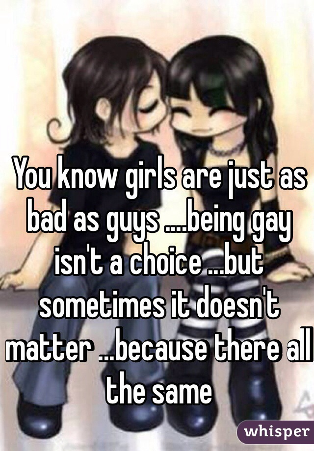You know girls are just as bad as guys ....being gay isn't a choice ...but sometimes it doesn't matter ...because there all the same