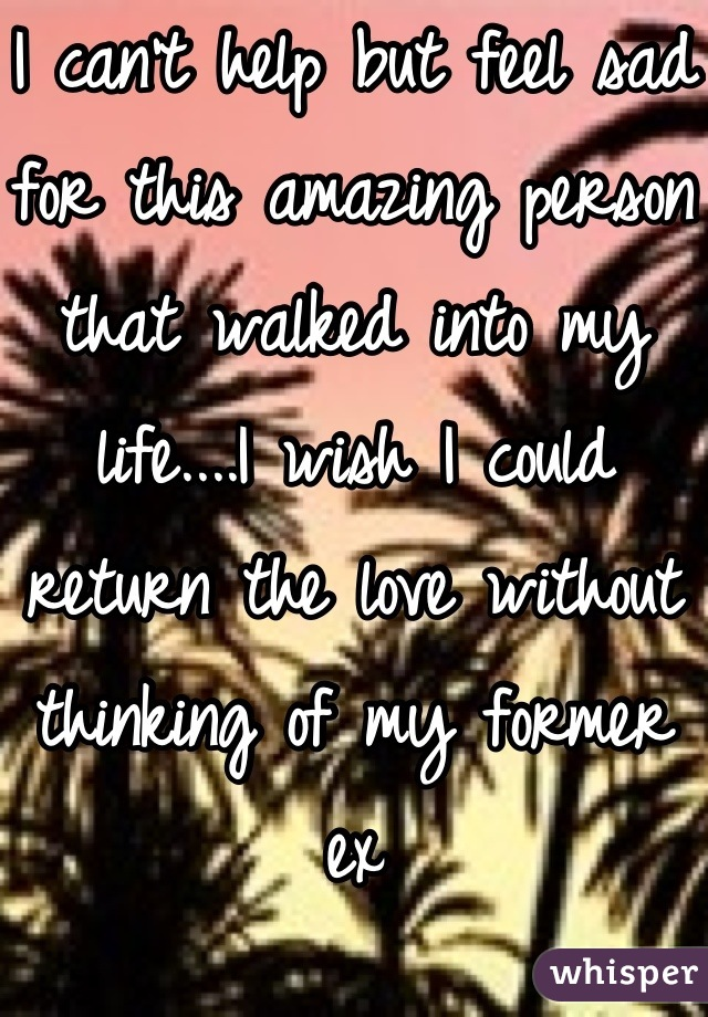 I can't help but feel sad for this amazing person that walked into my life....I wish I could return the love without thinking of my former ex