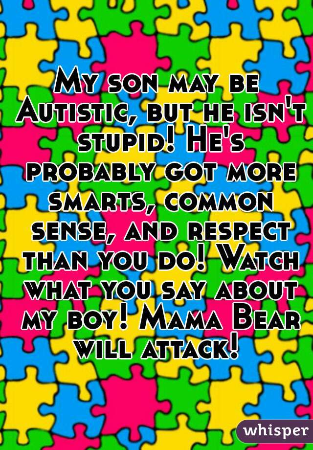 My son may be Autistic, but he isn't stupid! He's probably got more smarts, common sense, and respect than you do! Watch what you say about my boy! Mama Bear will attack!