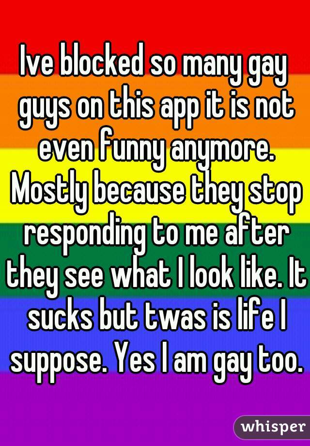 Ive blocked so many gay guys on this app it is not even funny anymore. Mostly because they stop responding to me after they see what I look like. It sucks but twas is life I suppose. Yes I am gay too.