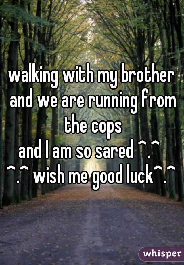 walking with my brother and we are running from the cops and I am so sared ^.^  ^.^ wish me good luck^.^