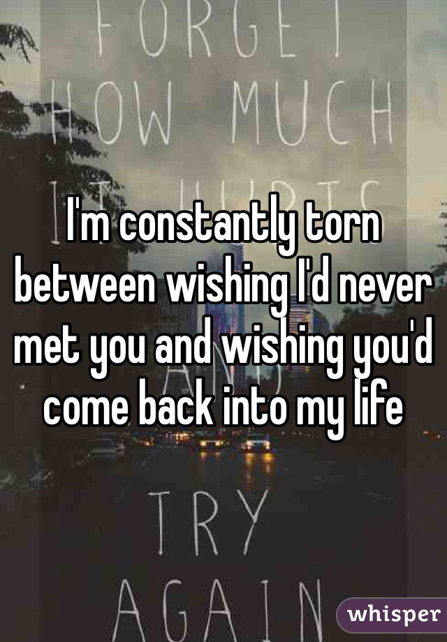 I'm constantly torn between wishing I'd never met you and wishing you'd come back into my life