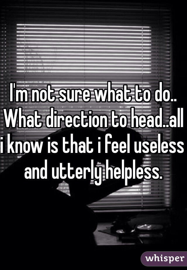 I'm not sure what to do.. What direction to head..all i know is that i feel useless and utterly helpless.