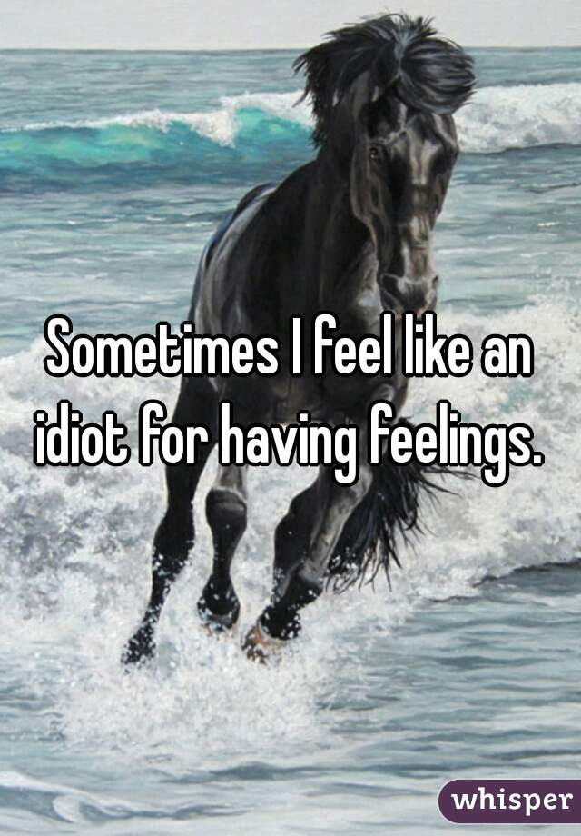Sometimes I feel like an idiot for having feelings.