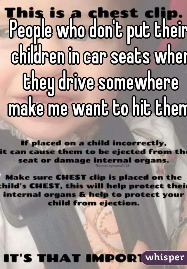 People who don't put their children in car seats when they drive somewhere make me want to hit them.