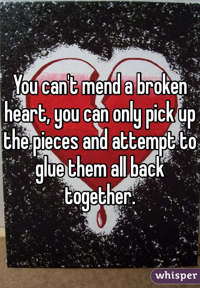 You can't mend a broken heart, you can only pick up the pieces and attempt to glue them all back together.