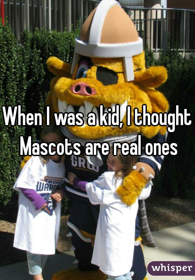When I was a kid, I thought Mascots are real ones