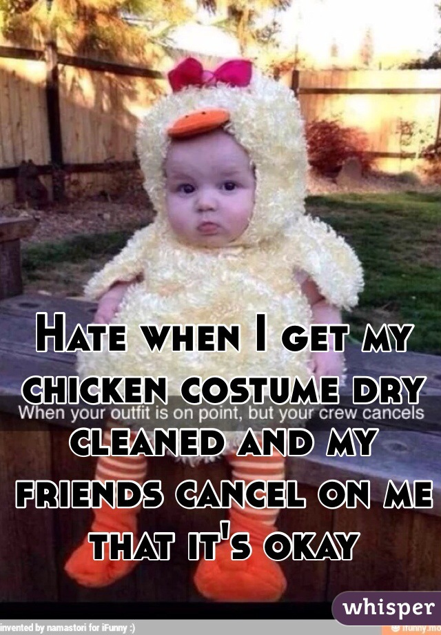 Hate when I get my chicken costume dry cleaned and my friends cancel on me that it's okay