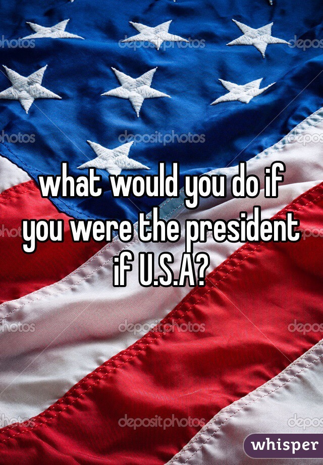 what would you do if  you were the president  if U.S.A?