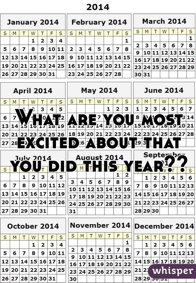 What are you most excited about that you did this year??