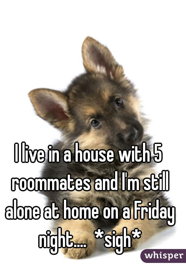 I live in a house with 5 roommates and I'm still alone at home on a Friday night....  *sigh*