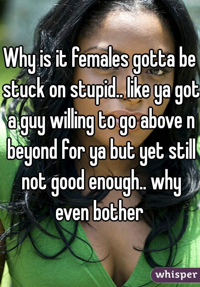 Why is it females gotta be stuck on stupid.. like ya got a guy willing to go above n beyond for ya but yet still not good enough.. why even bother